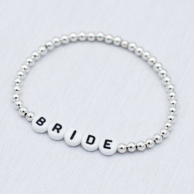 Name It 'Bride' 4mm Sterling Silver Bracelet