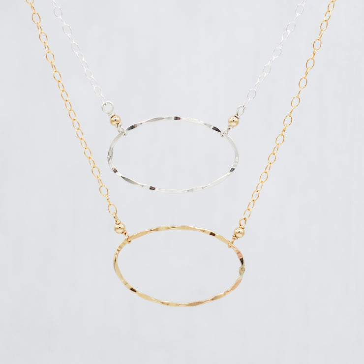 Sterling Silver & Goldfill Oval Necklace