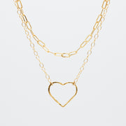 Goldfill Heart & Small Paper Clip Necklace Layering Set