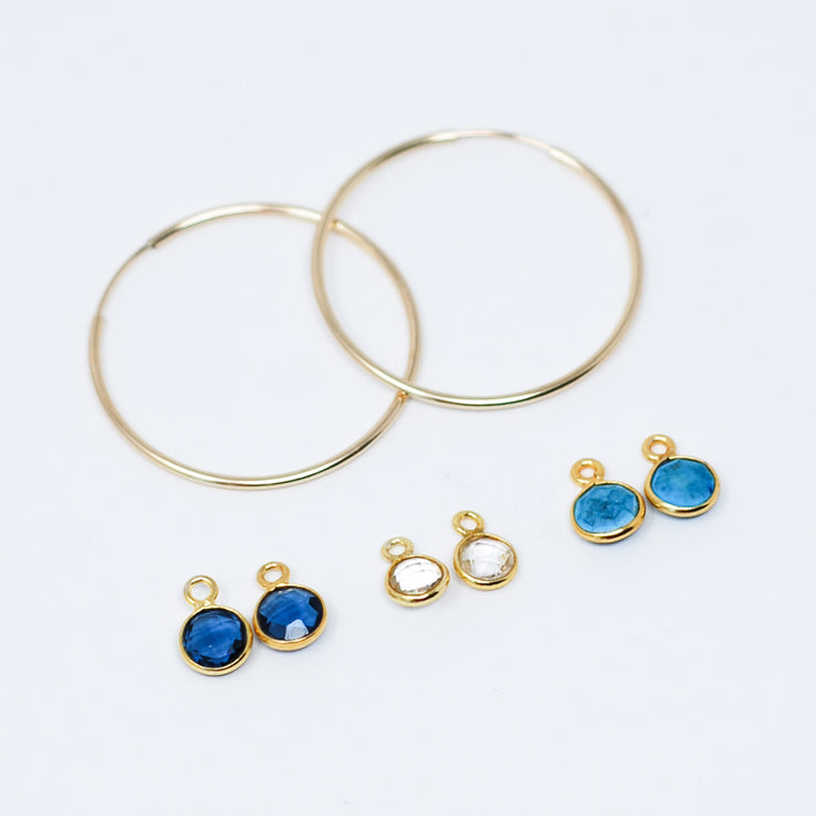 Hoop Earrings & Bezel Drop Set