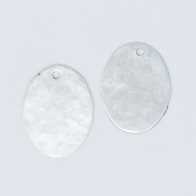 Sterling Silver Hammered Oval Hoop Drops