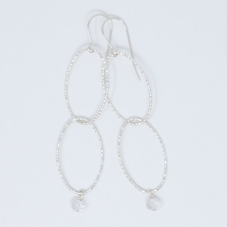 Sterling Silver Link & Crystal Quartz Earrings