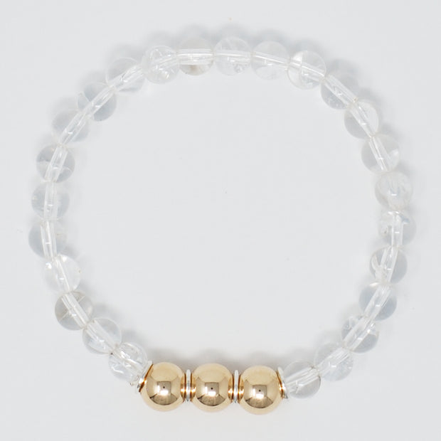 Crystal Quartz & Goldfill Bracelet