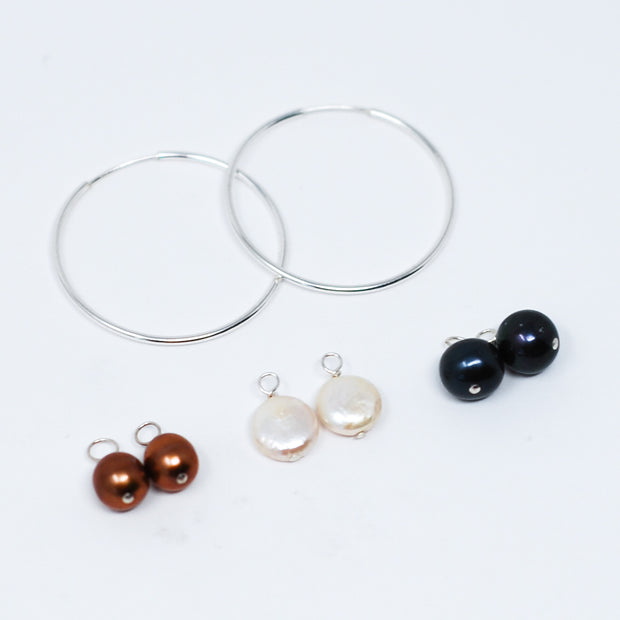 Hoop Earring & Freshwater Pearl Drop Set