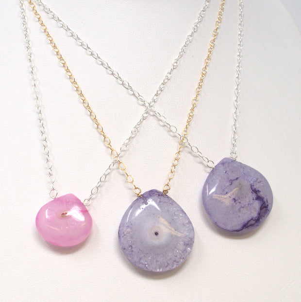 Purple Chalcedony & Sterling Silver Necklace