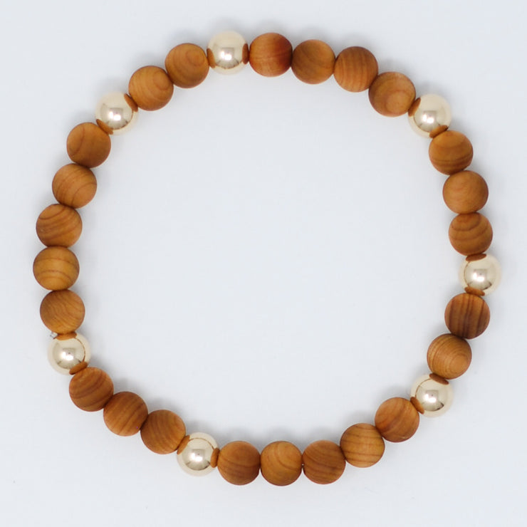 Natural Wood & Goldfill Bracelet