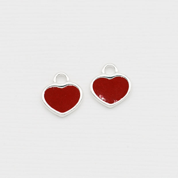 Red Heart Enamel & Sterling Silver Hoop Drops