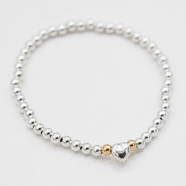 4mm Sterling Silver Heart Bracelet