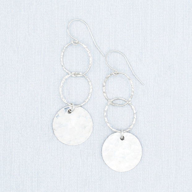 Sterling Silver Hammered Link & Disc Earrings