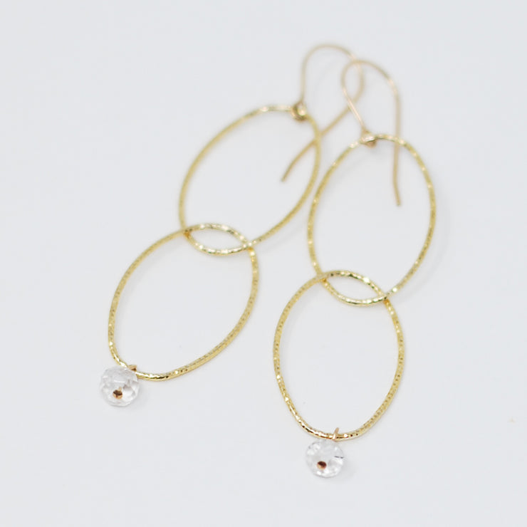 Vermeil Link & Crystal Quartz Earrings