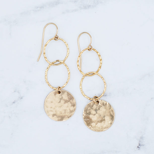 Goldfill Hammered Link & Disc Earrings