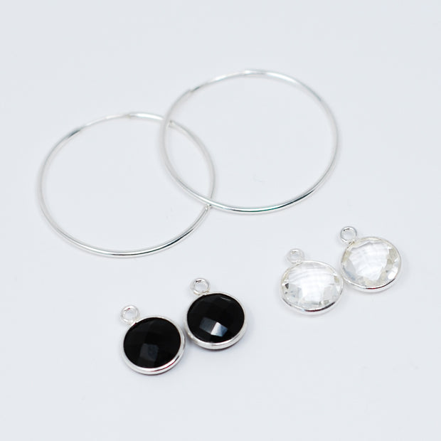 Hoop Earrings & Bezel Set Drops