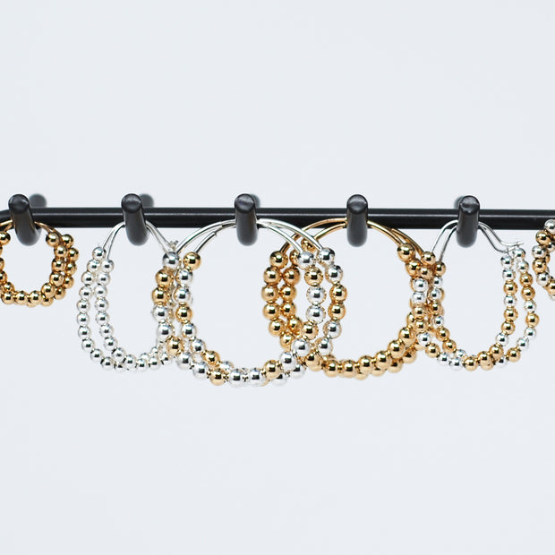 Mixed Metal Beaded Sterling Silver Hoops