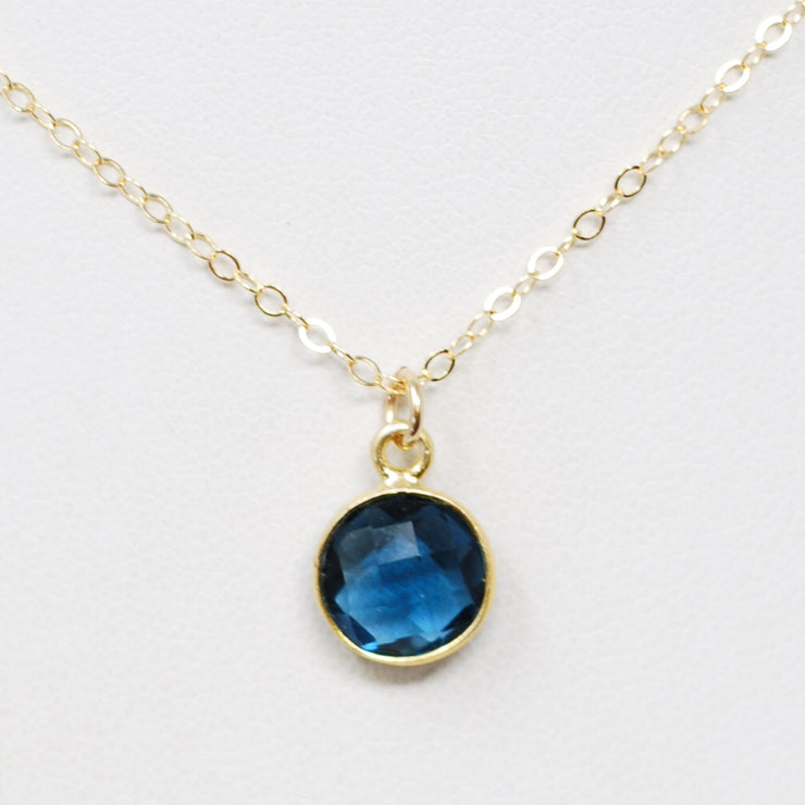 Navy Quartz & Goldfill Necklace