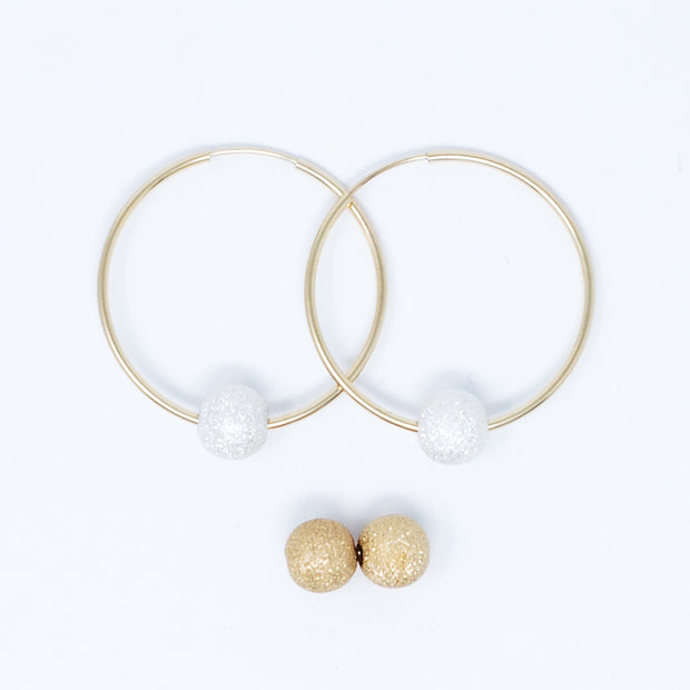Hoop Earring & Sparkle Ball Drop Set