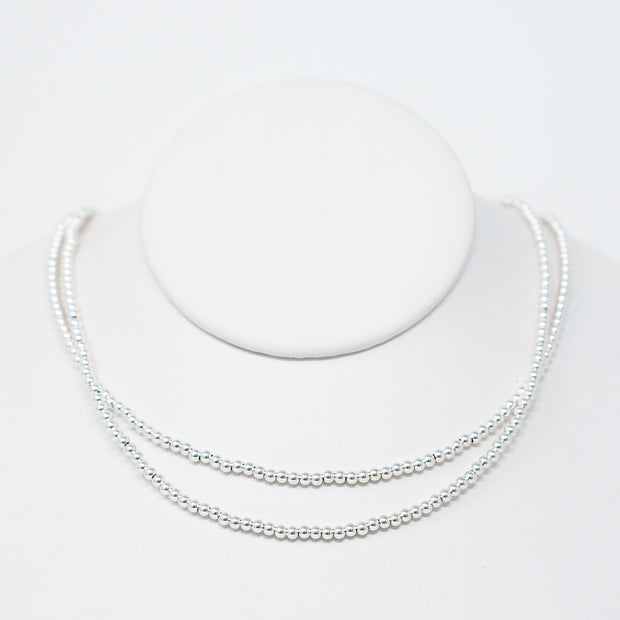 Sterling Silver Beaded Wrap Necklace