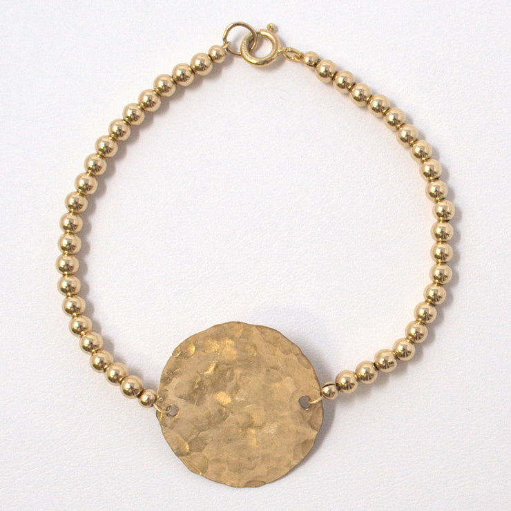 4mm 14k Goldfill & Hammered Disc Bracelet