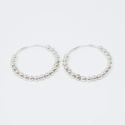 Sterling Silver Beaded Hoops