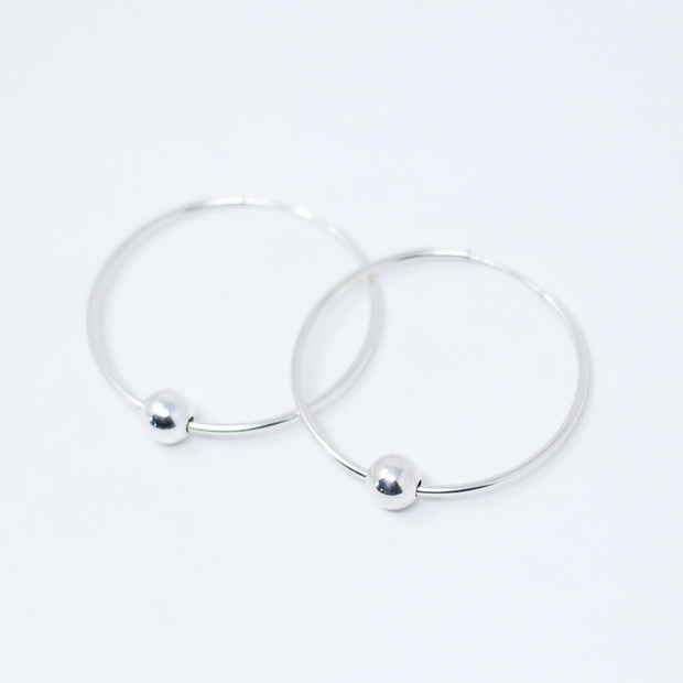 Sterling Silver Ball Hoop Drops
