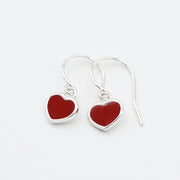 Red Heart Enamel & Sterling Silver Earrings