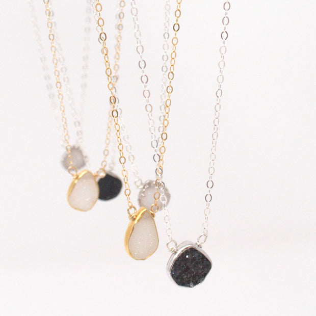 Black Druzy & Sterling Silver Necklace