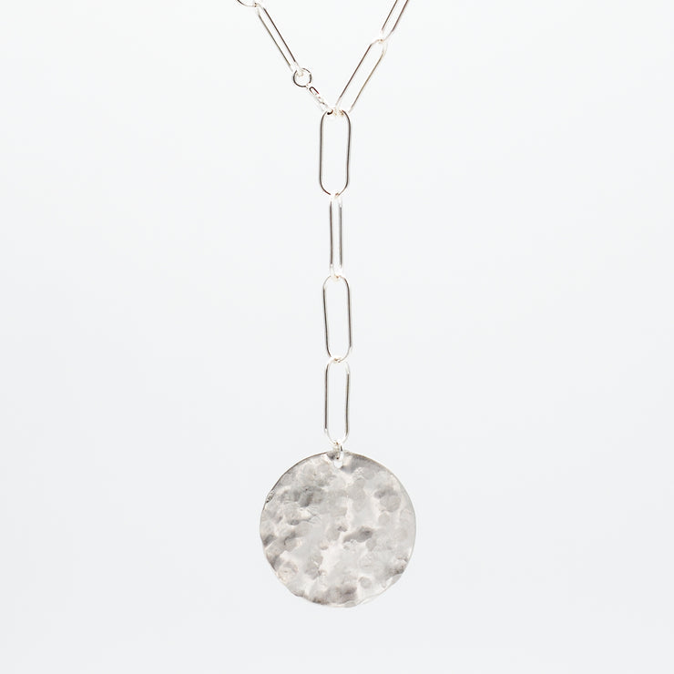 Sterling Silver Extra Large Paper Clip Lariat Disc Necklace