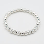 6mm Sterling Silver Beaded Bracelet