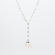 Sterling Silver Small Paper Clip Lariat Disc Necklace