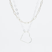 Sterling Silver Heart & Small Paper Clip Necklace Layering Set