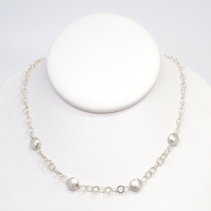 Brushed Sterling Silver Coin & Sterling Silver Necklace