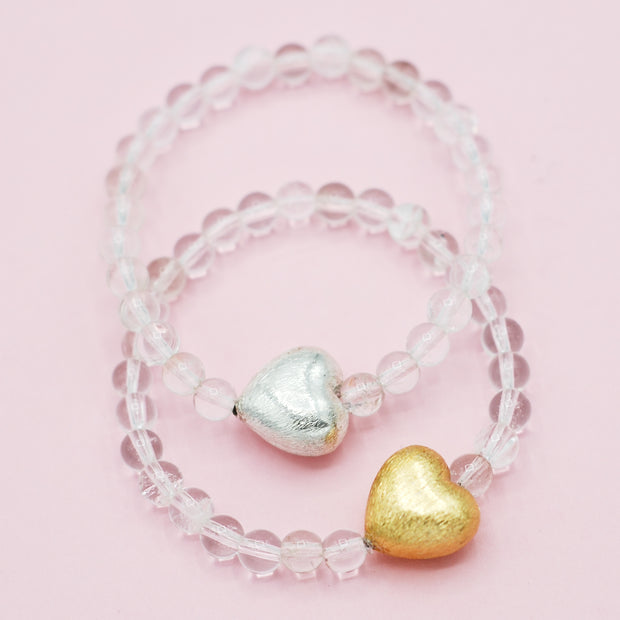 Crystal Quartz Heart Bracelet