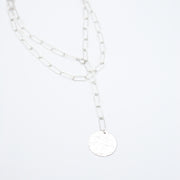 Sterling Silver Extra Large Paper Clip Wrap Lariat Disc Necklace