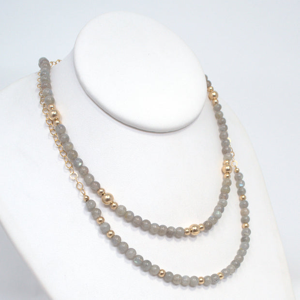 Gray Moonstone & Goldfill Necklace