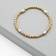 Goldfill & Sterling Silver Beaded Bracelet