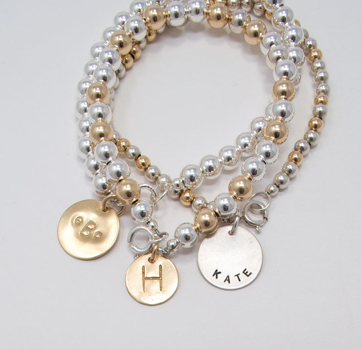 Sterling Silver & Goldfill Personalized Bracelet