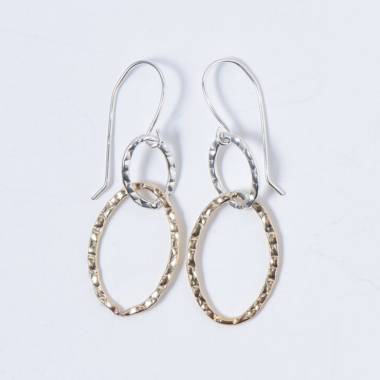Sterling Silver & Goldfill Hammered Link Earrings