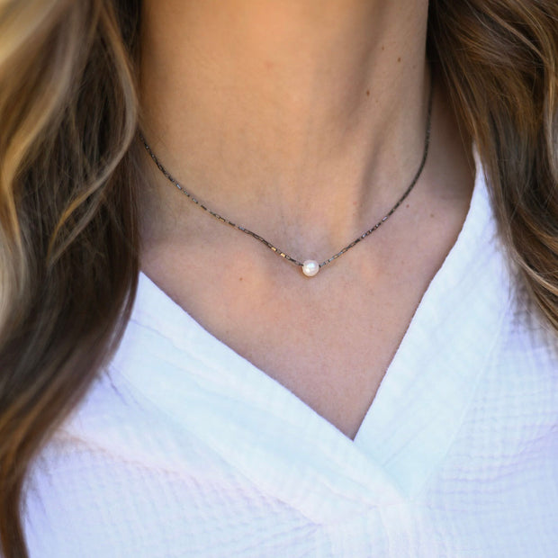 Matte Black Onyx & Sterling Silver Necklace