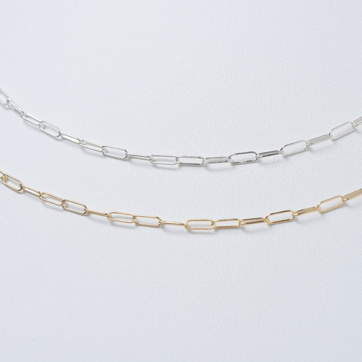 Sterling Silver Paper Clip Long Chain
