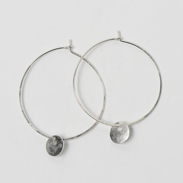 Hand Hammered & Shaped Sterling Silver Hoop Earrings