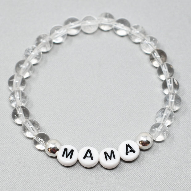 Personalized 'Mama' Crystal Quartz Bracelet