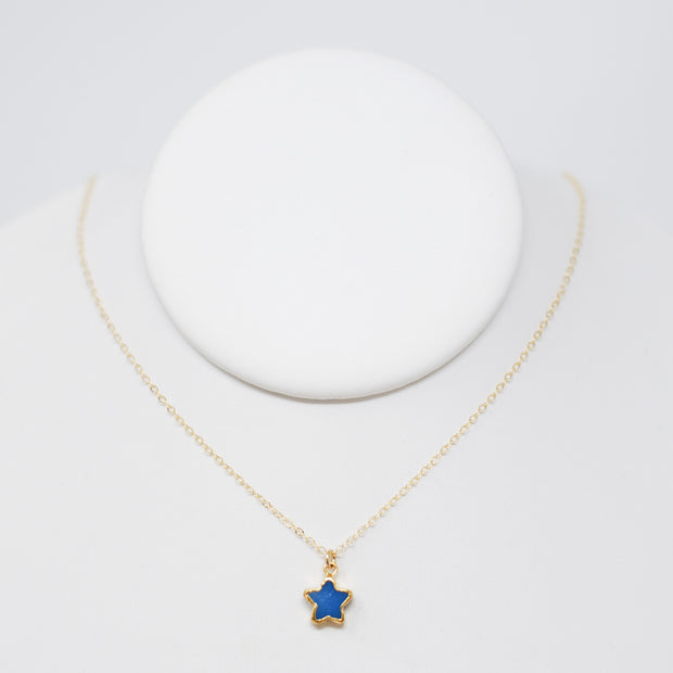 Bright Blue Star Druzy & Goldfill Necklace