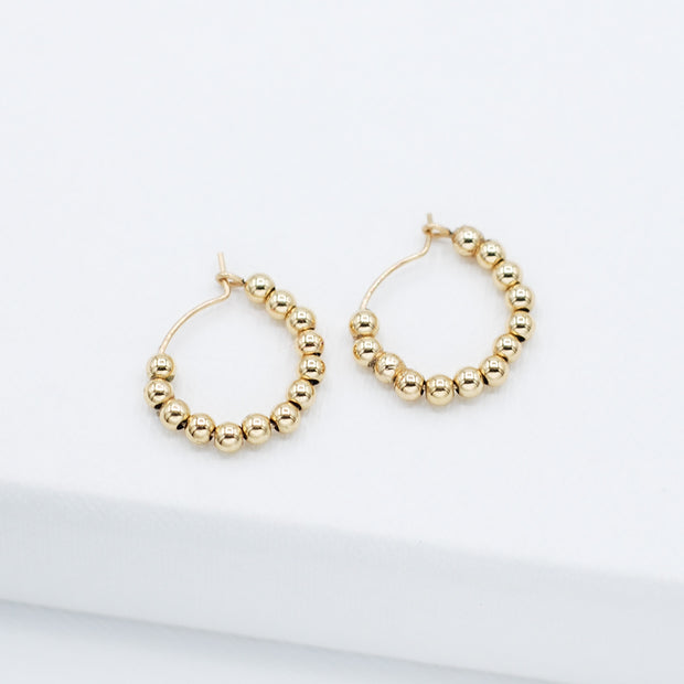 Small 14k Goldfill 2.5mm Beaded Hoops