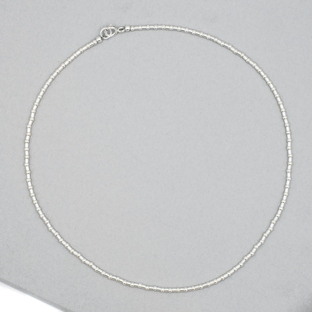 2.5mm Sterling Silver Beaded Tube Necklace
