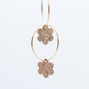 14K Goldfill Hammered Flower Drops