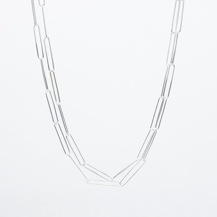 Sterling Silver XXL Paper Clip Long Layering Chain