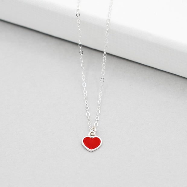 Red Enamel Heart & Sterling Silver Necklace