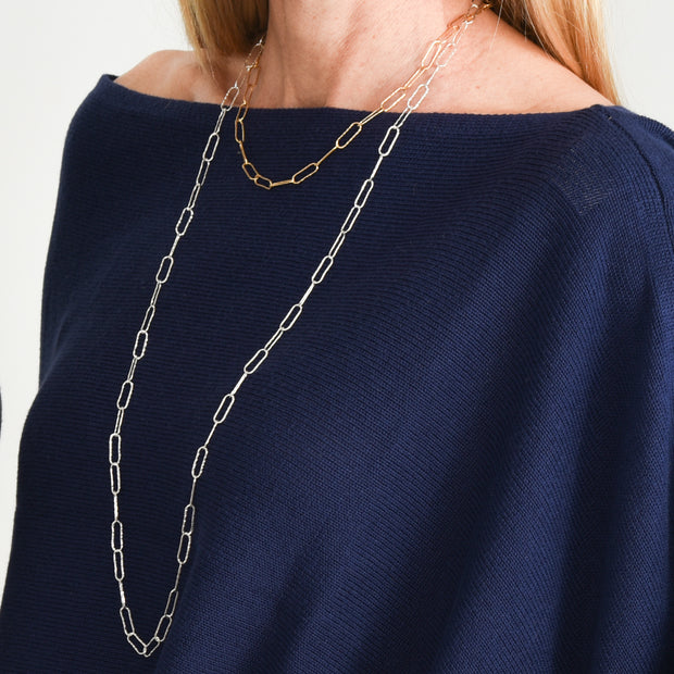 Sterling Silver Extra Large Hammered Paper Clip Long Layering Chain