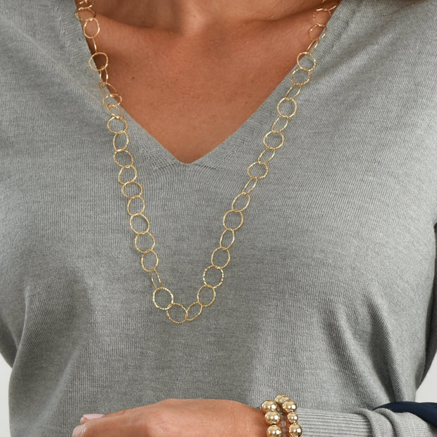 13mm Goldfill Hammered Long Chain