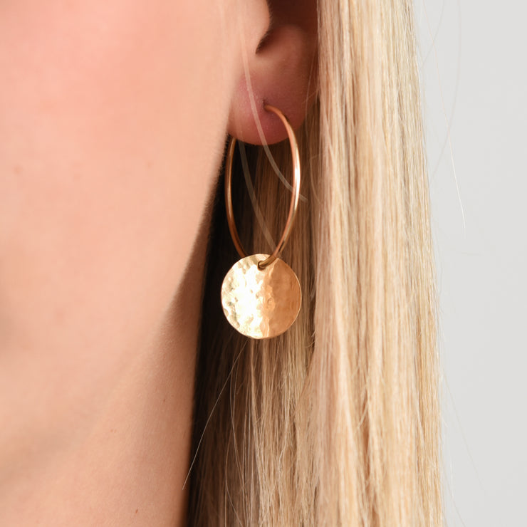 Hoops & Goldfill Hammered Hoop Drops