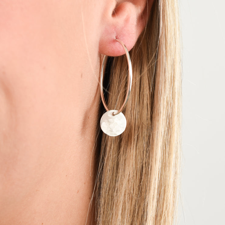 Hoops & Sterling Silver Hammered Drops